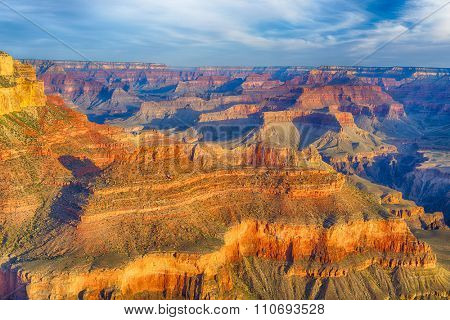 Beautiful colors and shapes of the Grand Canyon shortly after the sunrise at Yavapai Point. Arizona, USA