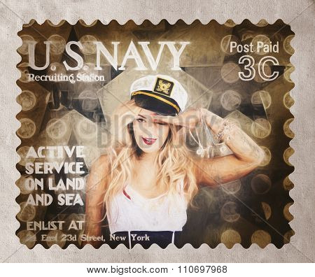 Wwi Recruiting Postage Stamp. Navy Sailor Girl