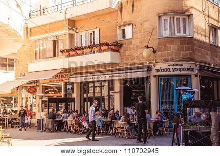 Nicosia, Cyprus - April 13 :People In Restaurants And Traditional Coffee Shops At Faneromenis Street