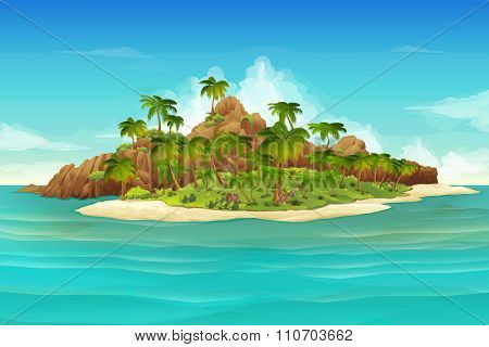 Tropical island, vector background