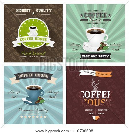 Set of creative coffee house poster vector illustrations.