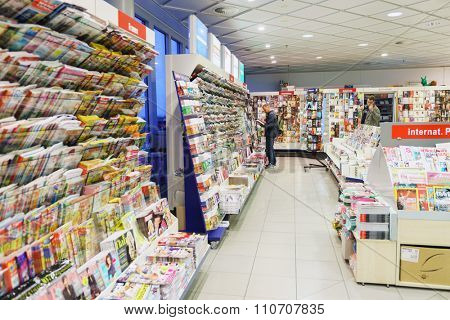 LEIPZIG, GERMANY - SEPTEMBER 11, 2014: interior of book shop in Leipzig Airport. Leipzig Airport is an international airport serves both Leipzig, Saxony and Halle, Saxony-Anhalt.