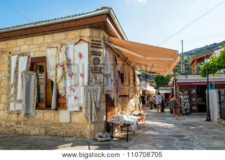 Omodos, Cyprus - October 4, 2015: Traditional Souvenir Shops With Embroidery Lace, On October 4 In O