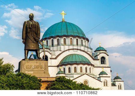 St. Sava Cathedral and Karadjordje monunent Belgrade (Beograd). Serbia poster