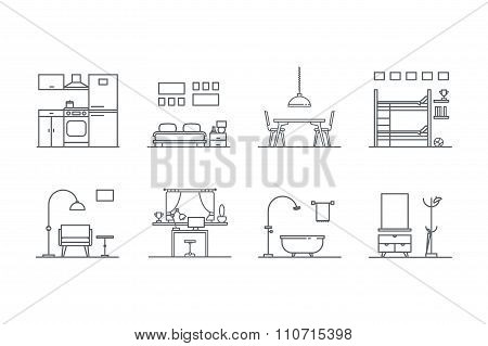 Set of line  interior design icons. Stock vector.