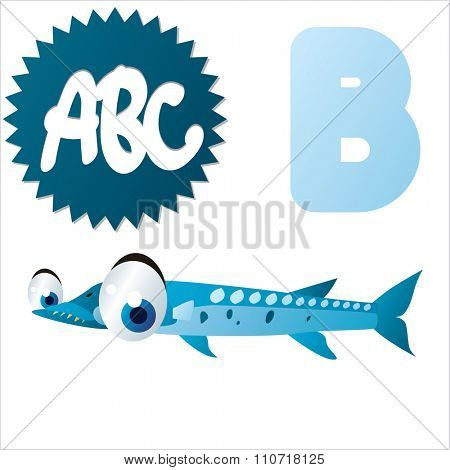 Vector cute funny colorful alphabet animals: B is for Barracuda