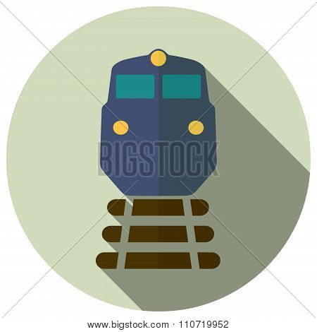 freight train icon in flat style, vector