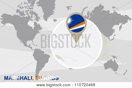 World Map With Magnified Marshall Islands
