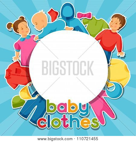 Baby clothes. Background with clothing items for newborns and children