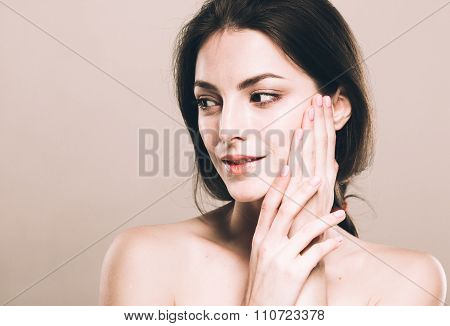 Beautiful Young Woman Portrait Cute Tender Pure Smiling  Touching Her Face