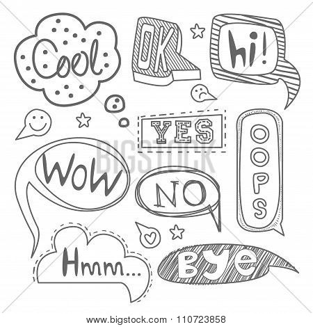 Speech Bubble Collection. Black and White Vector Set