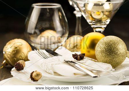 Christmas Dinner Table. Traditional Christmas Decorations. Romantic Table Setting.