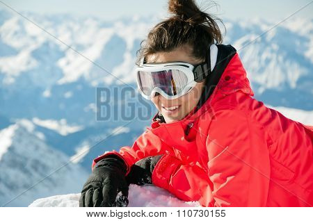 Woman On The Top Of A High Mountain With Alps Background