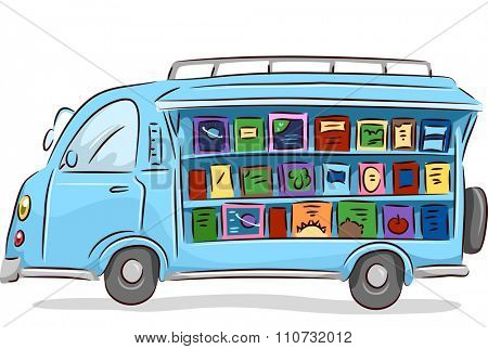 Illustration of a Converted Mobile Library Driving Around