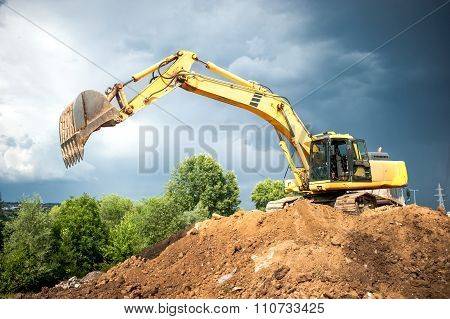 Backhoe And Industrial Excavator Working In Construction Site, Quarry and loading earth