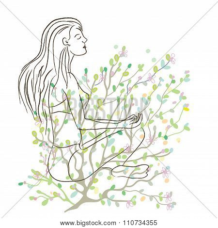Yoga Poster With Girl Sketch And Nature Background