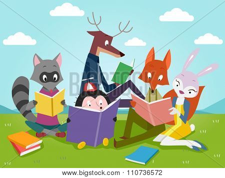 Illustration of Cute Animals Reading Books Outdoors