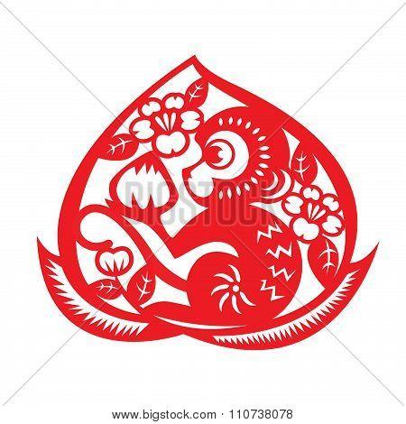 Red paper cut monkey zodiac symbol (monkey holding peach in peach)