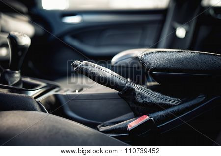 Interior Modern Car Elements, Close-up Of Handbrake And Seatbelt
