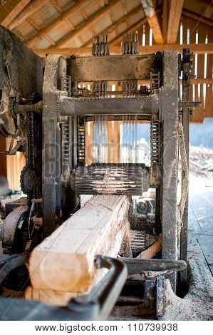 Industrial Wood Factory - Industrial Saw Cutting Logs