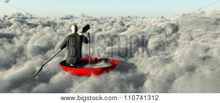 Man paddling through clouds in an upturned umbrella