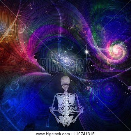 Skeletal figure meditates in cosmos