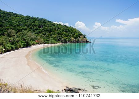 Tropical Beach With Sea Blue Sky, Andaman Sea, Koh Lanta, Krabi, Thailand