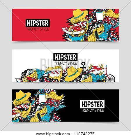 Hipster 3 interactive horizontal banners set