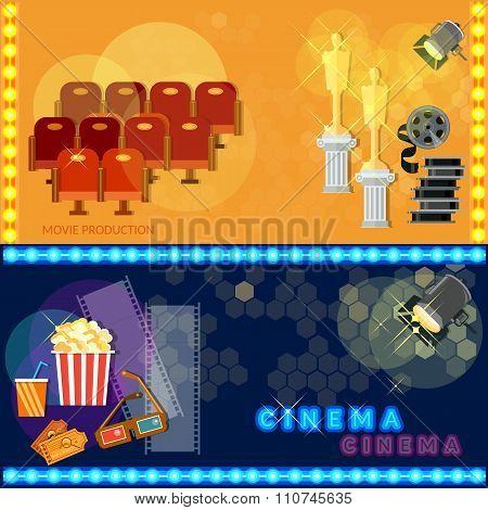 Cinema Festival Movie Poster Template Tickets Popcorn Soda Filmstrip Awards Concept Banners