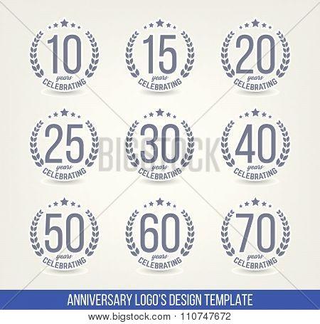 Ten, fifteen, twenty, thirty, forty, fifty, sixty, seventy years jubilee design elements .