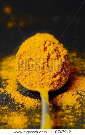 Turmeric Powder In A  Spoon