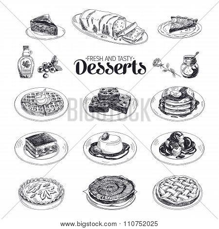 Vector hand drawn sketch restaurant desserts set.