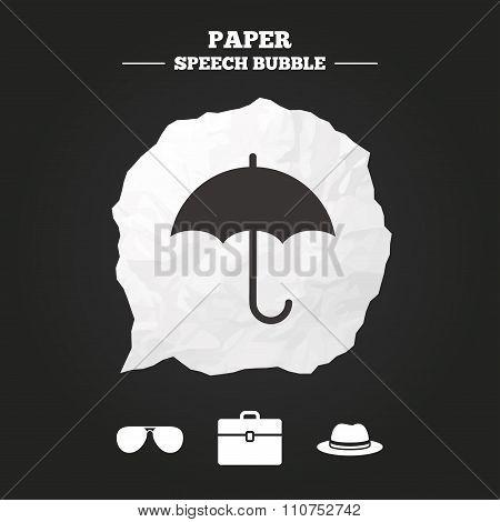 Umbrella, sunglasses and hat with case.