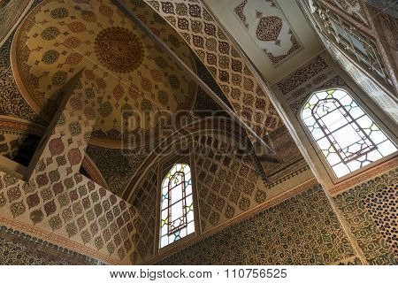 Ceiling detail from Harem section of Topkapi Palace, Istanbul, Turkey.