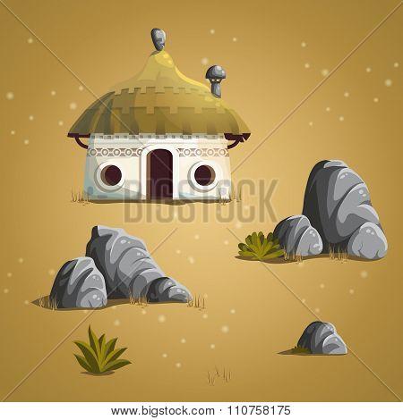 Set Elements House, Stones, Shrub, Grass