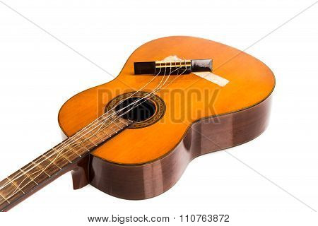 Broken Classical Guitar With Detached Bridge Isolated In White Background