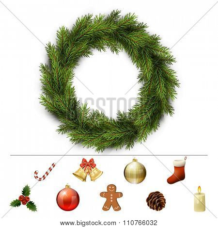 Christmas design elements for custom wreath decoration. Xmas template. Vector eps10 illustration