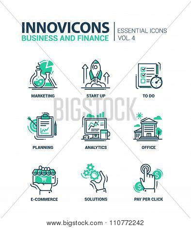 Set of modern office thin line flat design icons, pictograms. Business and finance infographics obje