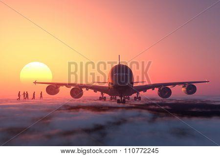 Passenger aircraft and people at dusk.