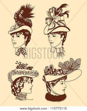 Four Women's Hats In Retro Style