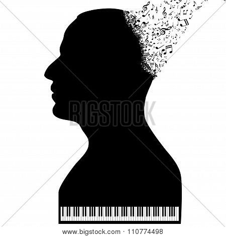 Illustration pianists as piano on a white background.