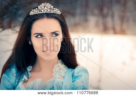 Close-up of Beautiful Snow Queen in Winter Decor