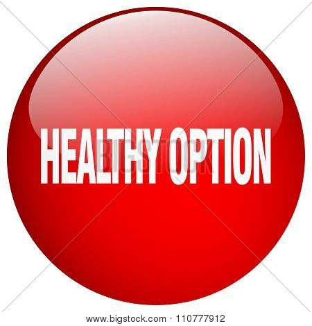 Healthy Option Red Round Gel Isolated Push Button