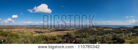 Panaramic view of Alqueva dam, from monsaraz village, Alentejo region, Portugal