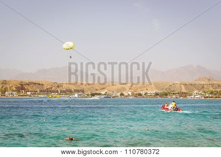 Parachuting Over A Sea, Towing By A Boat In Sharm El Sheikh