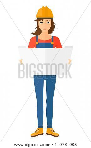 An engineer considering a blueprint vector flat design illustration isolated on white background. Vertical layout.