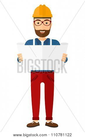 An engineer with the beard considering a blueprint vector flat design illustration isolated on white background. Vertical layout.