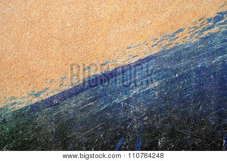 Hoarse,scratched And Peeled Surface  With Blue And Yellowish-brown Paint