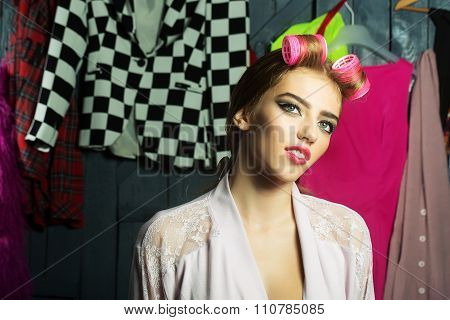 Housewife With Hair-rollers