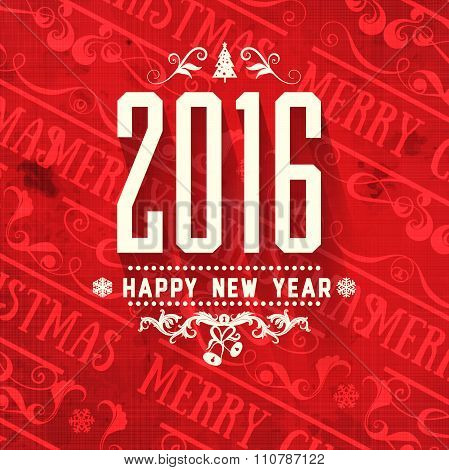 Modern vector style grange red white color scheme new year greetings card